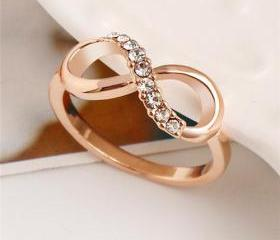 Cheap Rose Gold Infinity Ring with Bling Bling CZs Featuring -Free Shipping Worldwide